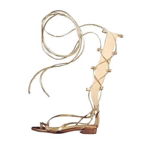 Leg Summer Gold Pelle Flat Wrappings Sandals Shoes di Tied Rivet Sandali Golden Winding Roman Straps Pecora tCwRWq6v
