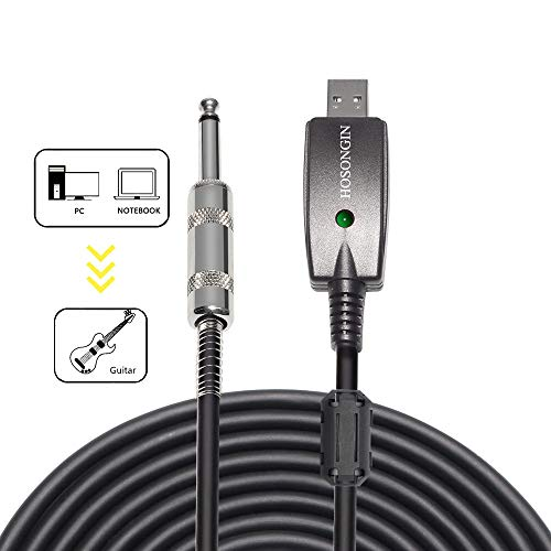 "HOSONGIN USB Guitar Cable - USB Interface Male to 6.35mm 1/4"" TS Mono Electric Guitar Converter Cable (10 Ft, Black)"