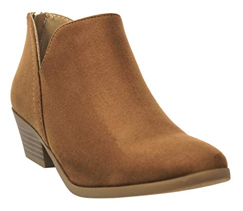 MVE Shoes Cute Western Cowboy Bootie - Womens Pointed Toe Slip on Ankle Boot -Back Zip up Low Heel Chamois 8.5