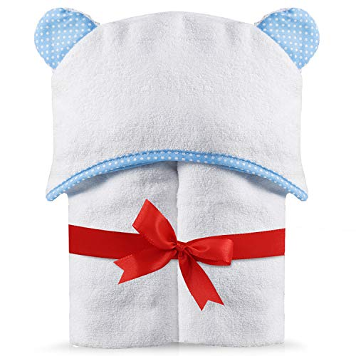 "Premium Hooded Baby Towel - Apron Style. 100% Organic Bamboo. Thick, Large (28 x 40""), Super Absorbent and Hypoallergenic. Suitable for Infant to Toddler, for Boys or Girls. Bonus Window Stickers"
