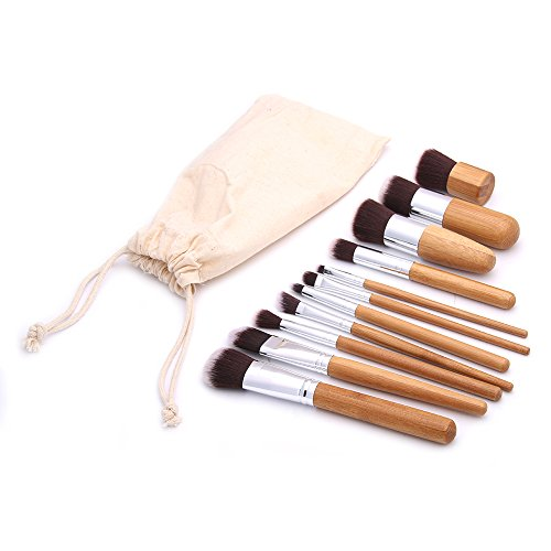 11pcs/set Bamboo make up brush tool kit - 2