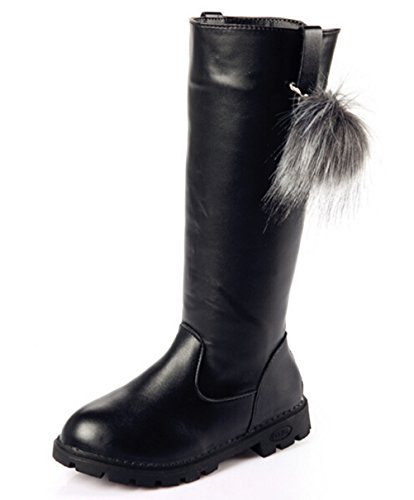Leather Boots For Girls (DADAWEN Girl's Waterproof Pom Pom Back Zipper Fur Tall Riding Boots (Toddler/Little Kid/Big Kid) Black US Size 11 M Little)