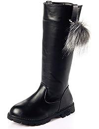 Girl's Waterproof Pom Pom Back Zipper Fur Tall Riding Boots (Toddler/Little Kid/Big Kid)