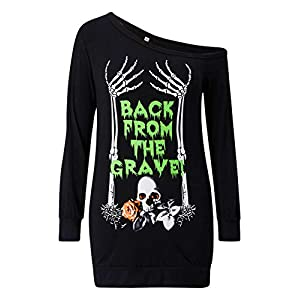 Loveternal Women's One Shoulder Off Top Halloween Printed Sweatshirt Long Sleeve Sexy Shirt Dress
