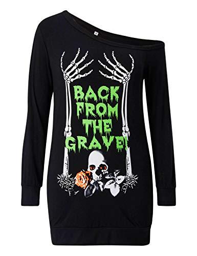 Loveternal Women's One Shoulder Off Top Halloween Printed Sweatshirt Long Sleeve Sexy Shirt Dress