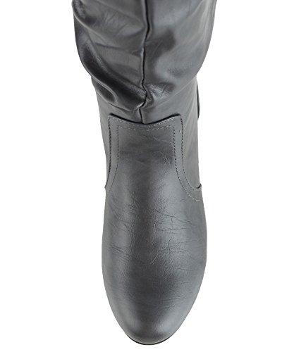 RF ROOM OF FASHION Frauen weiche Vegan Slouchy flach bis niedrige Ferse kniehohe Stiefel - mit versteckter Tasche - mittleres und breites Kalb Graues Pu - Mittleres Kalb