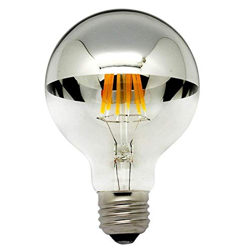 Half Chrome Light Bulb Dimmable LED Filament Vintage Bulb with Mirror 6W (60W Equivalent) G80/G25 E26 Medium Base Warm White 2700K