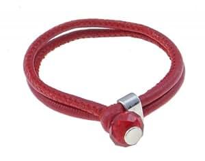 Pulsera doble de cuero con broche de cristal, rojo