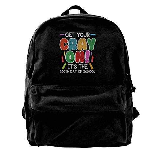 Blcak Backpack Large Book Bag Get Your Cray On It's The 100th Day Of School]()