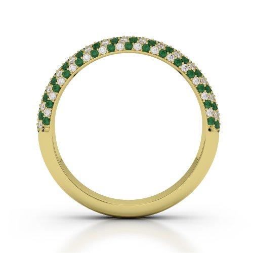 Or jaune 18carats 0,70CT G-H/VS Certifié Coupe ronde Émeraude et diamants Agdr-1117