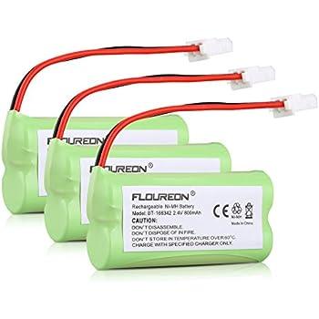 FLOUREON 3 Packs Ni-MH 2.4V 800mAh Rechargeable VTech BT166342 BT266342 BT162342 BT262342 BT-183342 Sanik 2SN-AAA40H-S-X2 2SNAAA70HSX2F CR1138 EL52251 VTech CS6329-3 Replacement Cordless Phone Battery