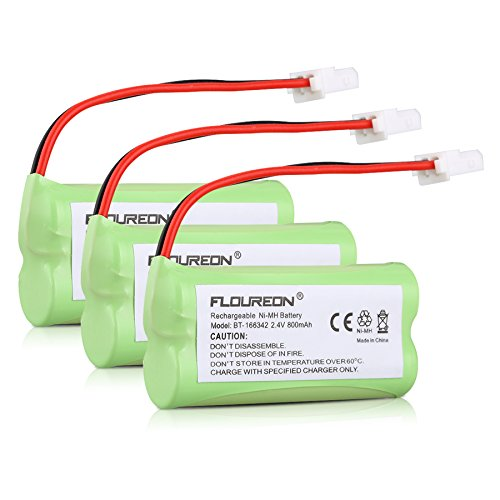 FLOUREON 3 Packs Ni-MH 2.4V 800mAh Rechargeable Replacement Cordless Phone Battery Compatible with VTech BT166342 BT266342 BT162342 BT262342 BT-183342 Sanik 2SN-AAA40H-S-X2 2SNAAA70HSX2F CR1138 EL5225