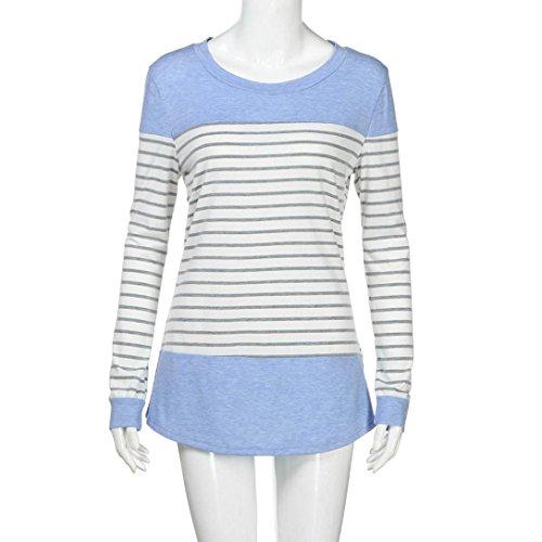 Patchwork Casual de Blusas Cortas Oferta Abrigo Para Mujer 2018 Ropa Tops Mujer Largo Redondo Shirt T Camisas Cinnamou Tops de Mujer Blousa Azul Manga Camisetas Camisas nq8wU6x7H