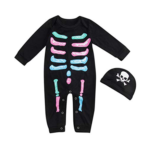 Toddler Kids Skeleton Romper and Hat,Crytech Baby Boy Girl Cotton Long Sleeve Skull Bone Print Jumpsuit Halloween Party Button Down Costume Outfit for Children Clothes (3-6 Months, Black)