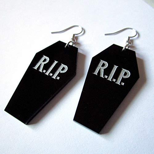 (RIP Halloween Coffin Dangle Statement Goth Death Casket Earrings)