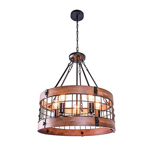 OYI Vintage Industrial Kitchen Island Light, 5 Lights Retro Wooden Chandeliers Light Fixture Circular Wood Frame Metal Cage Hanging Pendant Ceiling Light Luminaire