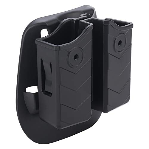 (HQDA Double Magazine Pouch with Paddle, Universal 9mm/.40 Mag Holder Dual Stack Pistol Magazine Holster Fits Glock Smith & Wesson Sig Sauer Beretta H&K Colt Browning Ruger Taurus and More)