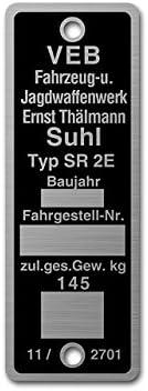 Aluminium *** Typenschild SR2E