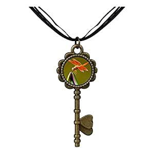 Chicforest Bronze Retro Style Beautiful Lovely Dragonfly Key to Her Heart Pendant