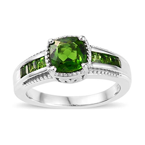 Chrome Plated Ring - Promise Ring 925 Sterling Silver Platinum Plated Cushion Chrome Diopside Gift Jewelry for Women Size 5 Ct 1.1