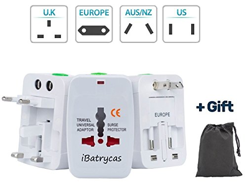 Travel Adapter, Universal Power Converter Plug, All In One Outlet Charger US to Europe Argentina, Electrical Adaptor 220v for UK USA EU Switzerland South America Asia (White)