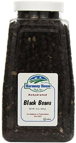Harmony House Foods TRUE Dehydrated Black Beans - Easy Cook (16 oz, Quart Size Jar)