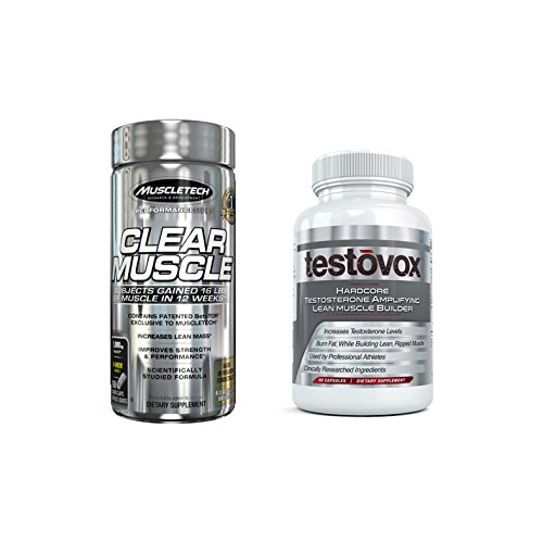Clear Muscle (168 Capsules) & Testovox (60 Capsules) - Most Advanced Muscle & Strength Building Combo. High Performance Bodybuilding Supplement Stack (Building Stacks Muscle Supplement)