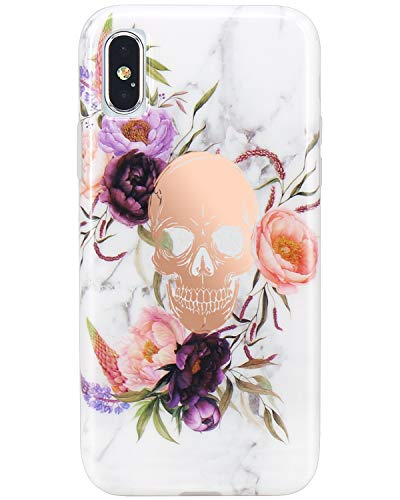 JIAXIUFEN Compatible with iPhone Xs Max Case Shiny Rose Gold Flower Skull White Marble Design Slim Shockproof Flexible Bumper TPU Soft Case Rubber Silicone Cover Phone Case
