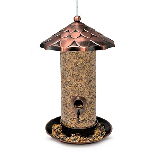 Gray Bunny GB-6894 Deluxe Tube Feeder with Bronze Roof, 360-Degree Feeding Tray and Ports, Large Sized - 13.5 x 8 inches and 9-Cup Seed Capacity, for Ground Feeders and Small Birds