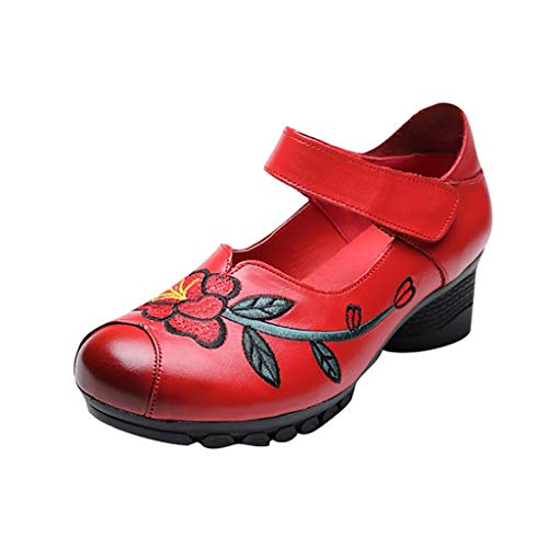 Funnygals Womens Lady Low Block Heel Mary Jane Style Flower Embroidered Shoes Leather Work Court Shoes Qipao Dress Shoes Pumps