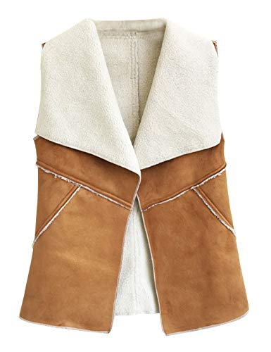 HUPOO Women's Stitching Cashmere Fleece Lined Faux Fur Suede Vests Waistcoats (Camel, X-Small)