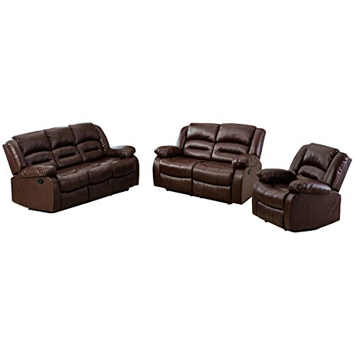 Giantex 3Pc Black Motion Sofa Loveseat Recliner Set Living Room Bonded Leather Furniture (3 Suits, Espresso)