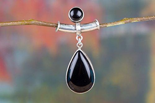 Black Onyx Pendant, 925 Sterling Silver, Teardrop Shape Pendant, Healing Pendant, Genuine Pendant, Promise Pendant, Nature Love Gift, Attract Pendant, Double Stone Pendant, 7th Anniversary Pendant