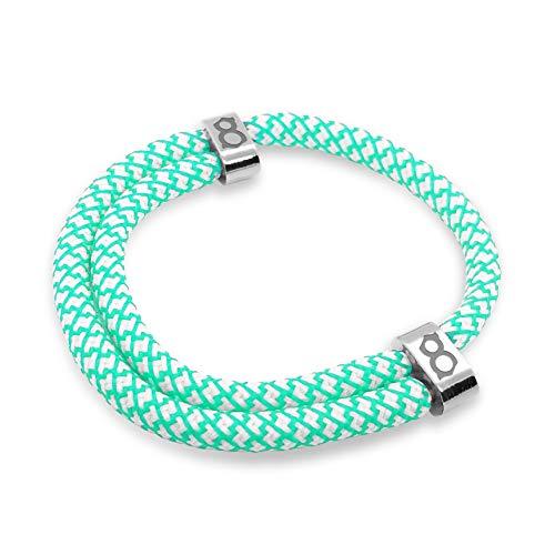 st8te - Handmade Men's & Women's Rope Bracelets - White/Green Rope (Silver Slider)