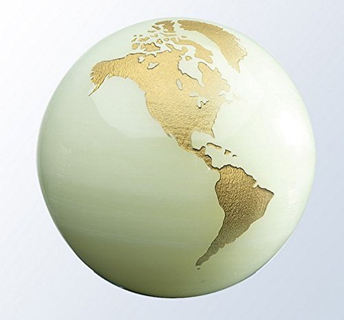(Marble Onyx World Globe Paperweight with Flat Bottom - Small)