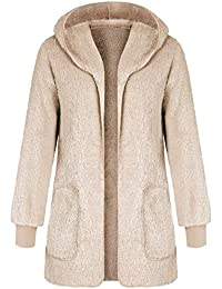Women Casual Fuzzy Hooded Jacket Faux Fur Cardigan Coat with Pockets
