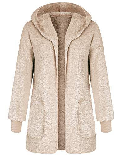 Casual Hooded Fluzzy Fleece Open Front Cardigan Fur Coats for Women Apricot S