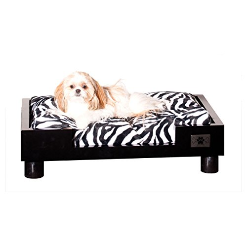 LazyBonezz Madison Wood Pet Bed for Dogs and Cats with One Soft Cushion and Two Cushion Cover Options Included, Black Frame with Solid Grey and Zebra Print Cushion Covers (Bed Royalty Bolster)