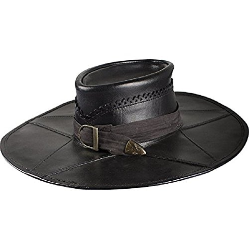 Leather Witch Hunter Hat LARP Costume Cap Black