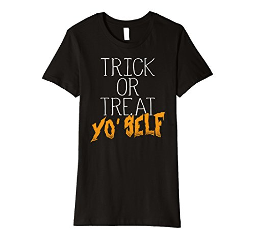 Made Costumes Funny Self Halloween (Womens Trick or Treat Yo Self T-Shirt Funny Halloween Party Tee Large)