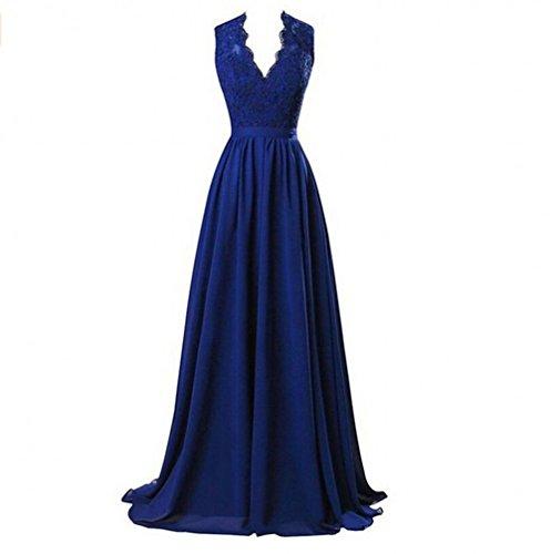 Les V-appliques Cou Des Femmes De Beauté Robe De Bal Ak Une Ligne Robes De Demoiselle D'honneur Backless Bleu Royal