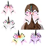 Vbiger Girl's Hair Bow Unicorn Cheer Bows Elastic Headband For Baby Teens Toddlers 4 Pack
