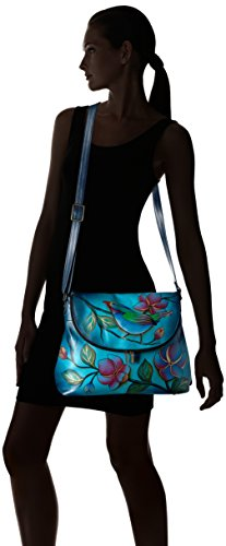 Painted Anuschka Brown Hand ANNA bag Light Bird by d Large Flap lonesome ngRqFx