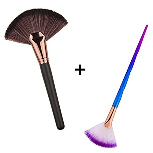 - HUIFEN Large Fan Makeup Brush, Portable Slim Professional Apply Perfect For Highlight And Bronzer Cheekbones Brush, 2pcs Together Soft Cosmetic Make Up Tool Foundation Powder Contour Brush (Fan brush)