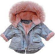 WUAI-Baby Girls Faux Fur Denim Jackets Little Kids Hooded Fleece Warm Jean Coat Plush Outwear for Toddler/Baby