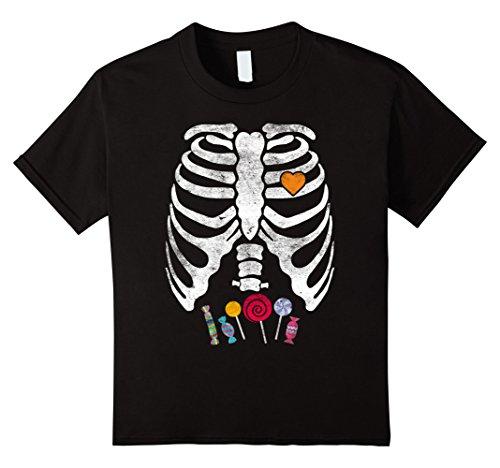 Kids Skeleton Candy Rib Cage X-Ray Halloween T-Shirt Kids - Adult 6 Black (Xray Skeleton Kids Costume)