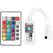 WiFi Wireless LED Smart Controller Working with Android IOS System Moble Phone Free App for 5050 3528 LEDs RGB LED Light Strips With a 24 Keys Remote Control (Wifi RGB controller)