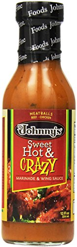 Johnny's Sweet Hot and Crazy Marinade and Wing Sauce, 12 Ounce (Pack of 6)