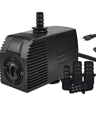 Simple Deluxe 400 GPH UL Listed Submersible Pump with 15' Cord, Water Pump for Fish Tank, Hydroponics, Aquaponics, Fountains, Ponds, Statuary, Aquariums & ()