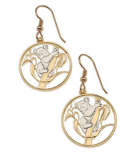 (Koala Bear Earrings, Australian Coin Hand Cut, 14K Gold & Rhodium Plated, 7/8